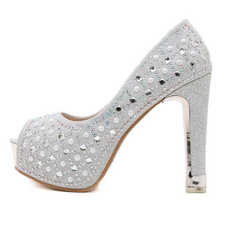 argent Strass Mariage Pompes De Whh577 Peep Toe Printemps Automne Haute Femmes forme Mode 2018 Pour Talons Des Dames Plate Noir Covoyyar Le Chaussures 4xwBHq4
