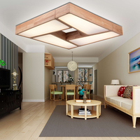Modern Minimalist LED Ceiling Lights Dimming Wood Living Room Ceiling Lamps Aisle Wooden Bedroom Lamp Nordic