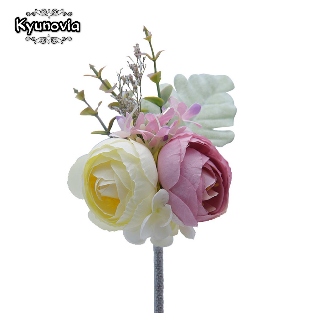 Symbol Of The Brand Peach Rose Bouquet Brooch Floral Corsage Wedding Flower Boutonniere Lapel Pin 12 Brooches & Pins