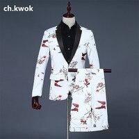 CH.KWOK Men White Tuxedo Fashion Double Fish Prints Floral Mens Wedding Suits Groom Suit Blazer Pants Trousers Perform Suits Men