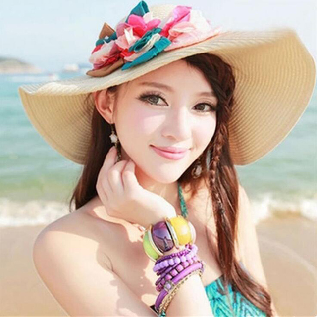 Hot New Fashion Summer Sun Hat for Women Flowers Floppy Straw Hat Headwear Foldable Beach Hat Large Brimmed Hat Sombreros 1848