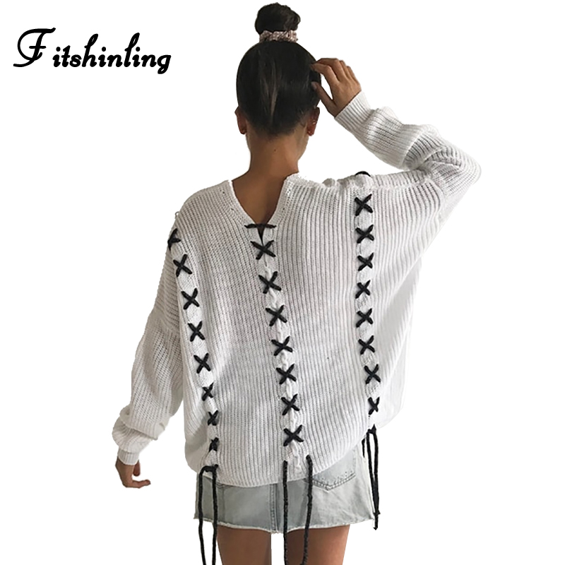 Fitshinling Lace Up Huge Dimension Sweater Autumn Winter Knitted Clothes Vogue V Neck White Ladies Sweaters And Pullovers Jumpers