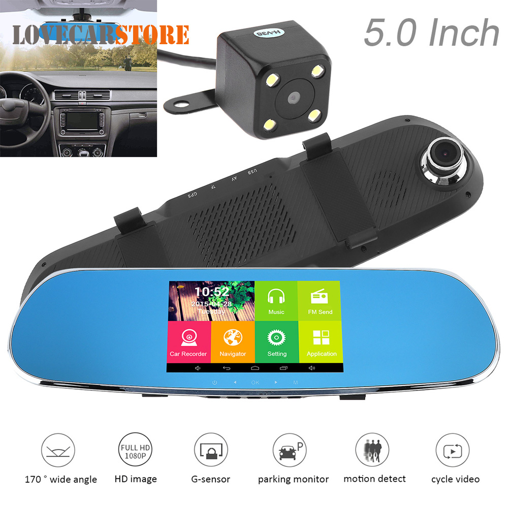 5 inch Android 1080P HD Electronic Dog Car Mirror DVR Video Recorder Support GPS Navigation Fm Emission + Auto Rear View Camera gps навигатор lexand sa5 hd
