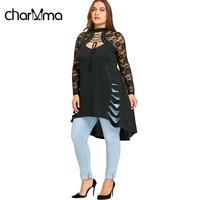 CharMma 2018 New Fashion Plus Size 5XL Lace Long Sleeve Long Shirt Women Autumn Gothic Trim