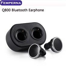 Hot! Femperna Q800 Bluetooth écouteur Sans Fil In-Ear Écouteurs Bruit Annuler Double Piste écouteur Pour iPhone 5 6 7 7 plus