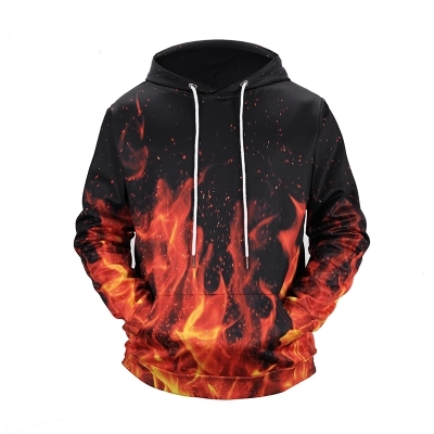 2018 New Fire Burning 3D Digital Printing Personality Hoodies Dress Couple Baseball Suit Big Code Men and Women Sweatshirt CD50