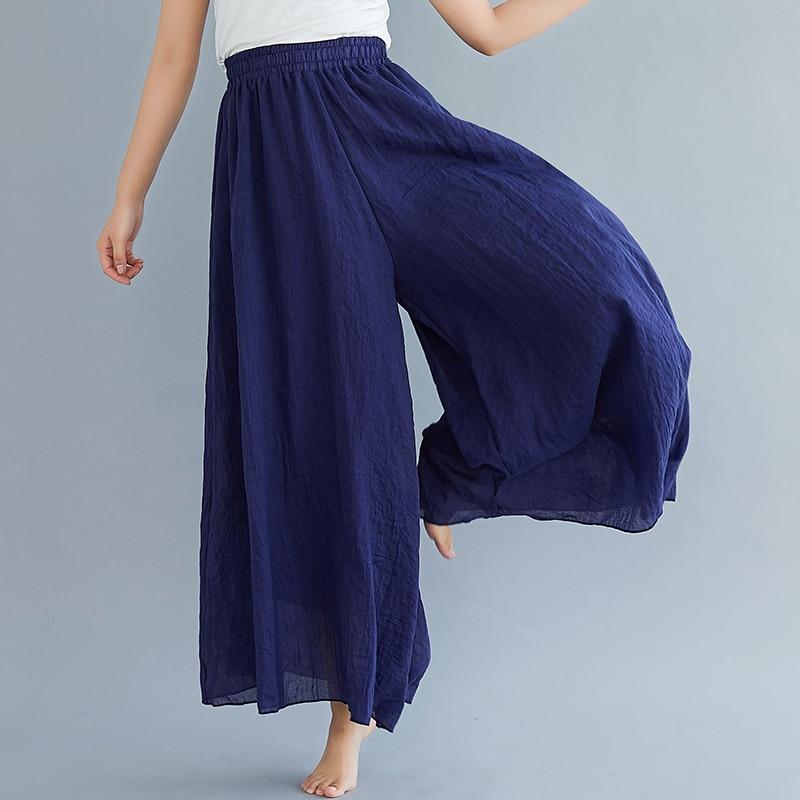 #0605 Elastic High Waist Beach Cotton Linen Wide Leg Pants Women Plus Size Full Length Trousers Female Vintage Loose Summer
