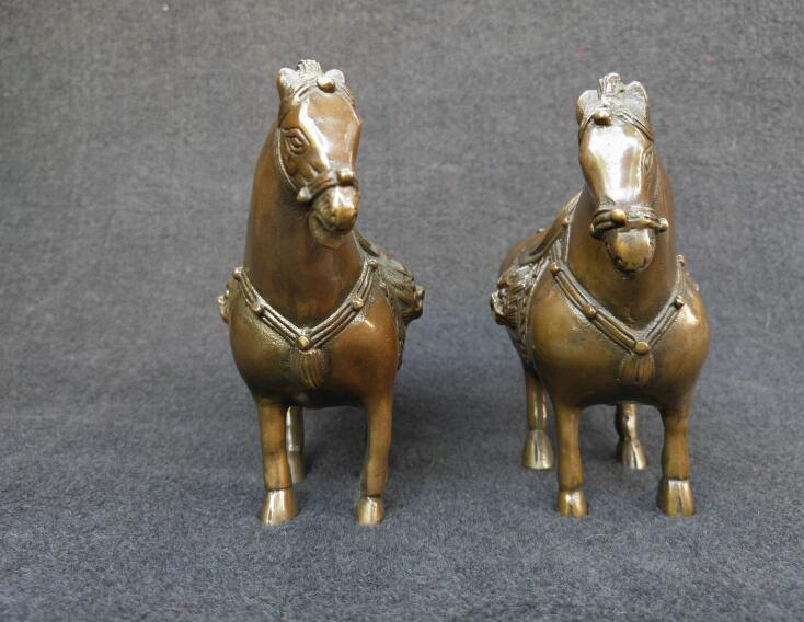 Chinese pure brass crafts zodiac horse a pair
