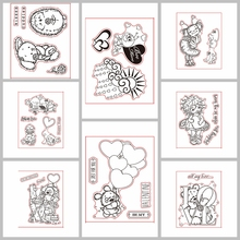 Lovely Animals Girls Pattern Prints Transparent Clear Silicone Stamp/Seal for DIY scrapbooking/photo album card making 3x4in