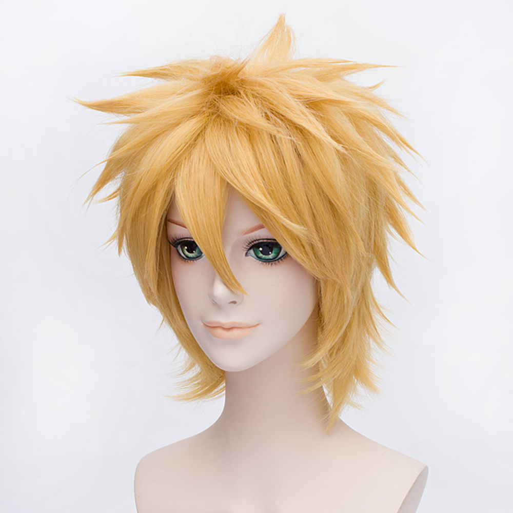 Naruto Uzumaki Wigs Golden Short Fluffy Shaggy Layered Heat Resistant Synthetic Hair Cosplay Costume Wig + Wig Cap(China)