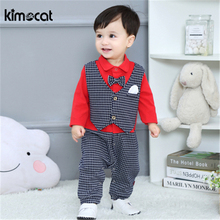 Kimocat Spring New Born Baby Boy Clothes Long Sleeve Cotton Pajamas Plaid Boys Jumpsuits Costume Romper