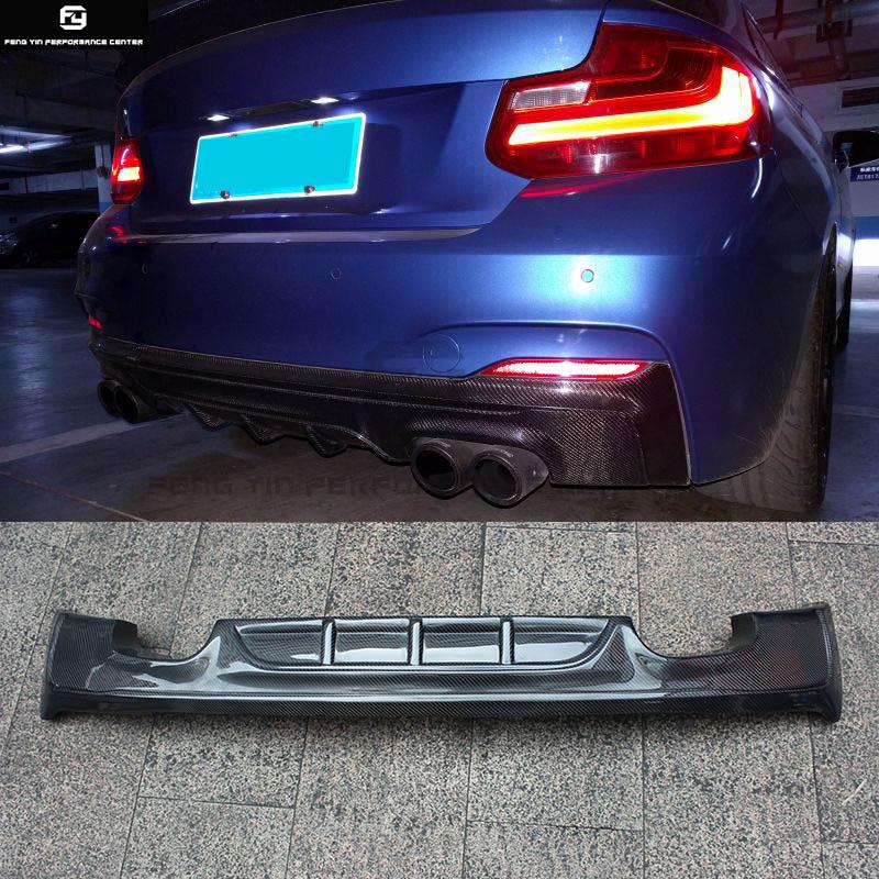 F22 M235 Auto In Fibra di Carbonio paraurti Posteriore diffusore labbro quattro di scarico per BMW F22 M235i auto body kit 14- 18
