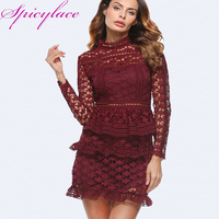 Spicylace Women S Long Sleeve Floral Lace Short Dress Sexy O Neck Dress Wedding Party Hollow