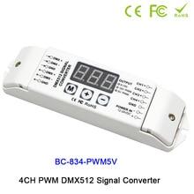 4CH PWM 5V/PWM 10V signal DMX512 Signal Converter,3-digital-display shows,DC12V-24V,DMX512 led driver controller