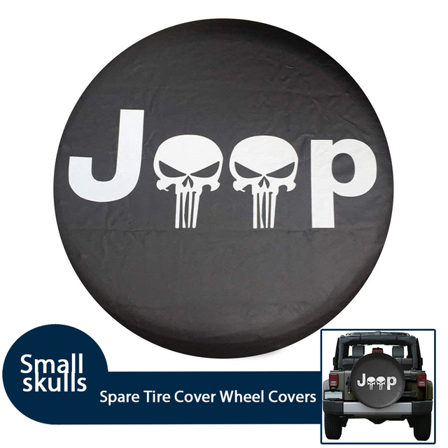 Soft PVC Leather Spare Tire Cover Waterproof Small Skulls RV Wheel Covers...