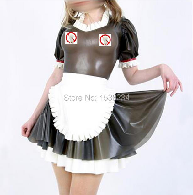 Buy Latex Maid Dress Transparent Black Sexy Lolita Latex Dress Maid Fetish Rubber Costumes Vestidos Plus Size
