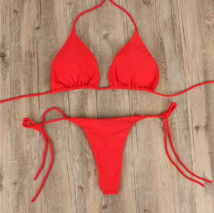2019 Micro Bikini Swimwear Women Solid Bikini Set Swimming Female Summer Two Piece Brazilian Bikinis Thong Bottom Swimwear