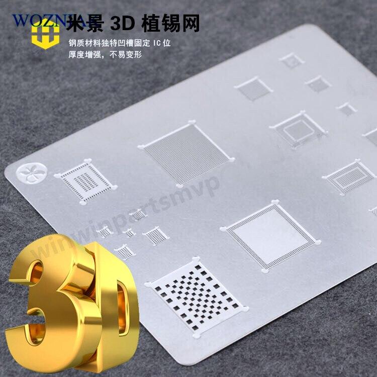 wozniak 3D BGA Reball Stencil A8 A9 A10 stencil tin plate for for iPhone 6SPlus 7G series 90mm bga reball stencil kit for game console stencil for xbox ps3 10pcs stencil