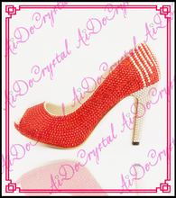 Aidocrystal hottest design crystal red color peep-toe ladies high heel shoes