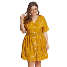 Summer Big Size Dresses for Women Super Casual Dot Lace Mid Dress Ladies Oversized Plump Girl Elegant Cute Hot