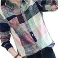 2017 de la Tela Escocesa Ocasional de Las Mujeres Blusas Kimono de Algodón de Lino del Vintage de Manga Larga Blusa Mujer Camisas Tops Camisa Camisa Feminina Femme