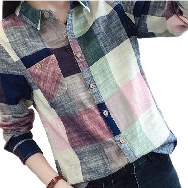 2018 повседневное плед для женщин блузки для малышек кимоно Винтаж льняная хлопковая блузка с длинными рукавами женские рубашки