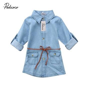 Cute Denim Blue Dress For Girl Toddler Long Sleeve Dress 1