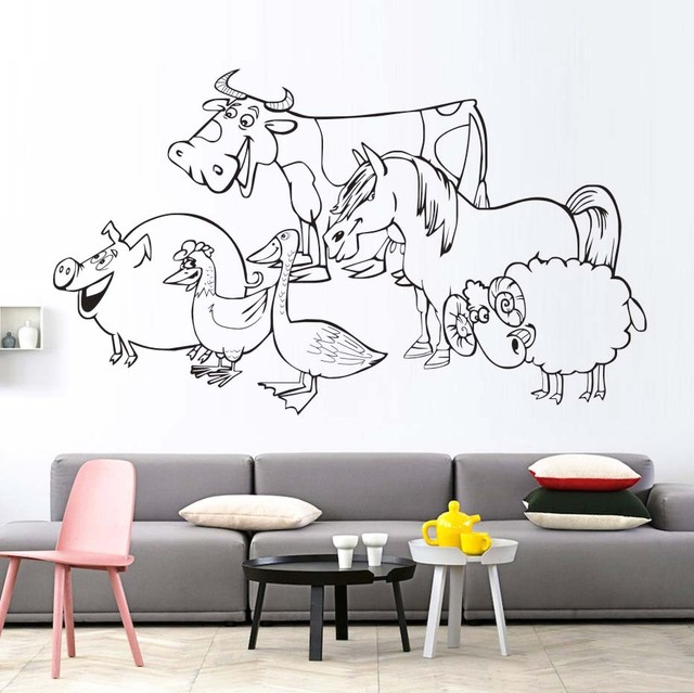 Aliexpresscom Buy A Group Of Pig Hen Duck Cow Horse Sheep Wall - Vinyl stickers designaliexpresscombuy eyes new design vinyl wall stickers eye wall
