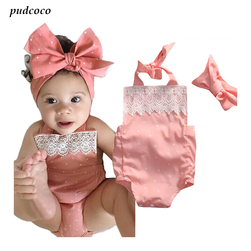 2017 Hot Summer Newborn Baby Girls Cotton Clothes Lace Dots Ruffles Halter   Rompers   + Headbands 2pcs Outfits