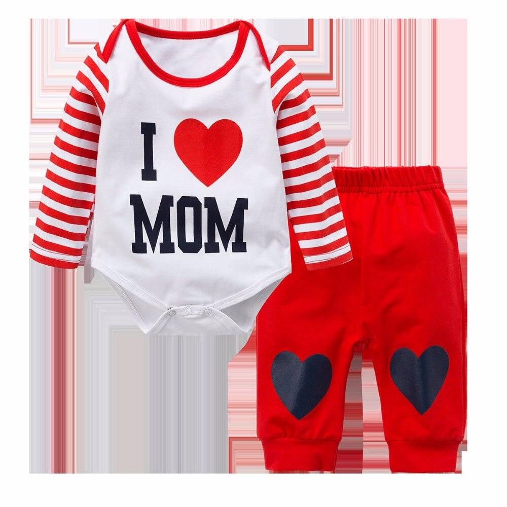 Бренд папа мама узор Детская Одежда для девочек и мальчиков красные, синие костюм Джинсы для женщин + Брюки для девочек Комплекты одежды