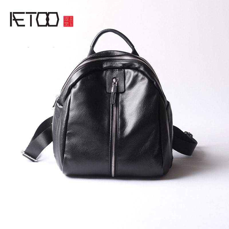 AETOO Casual fashion shoulder bag leather new female package first layer of leather bags simple temperament leisure travel packa aetoo first layer of leather shoulder bag female bag korean version of the school wind simple wild casual elephant pattern durab