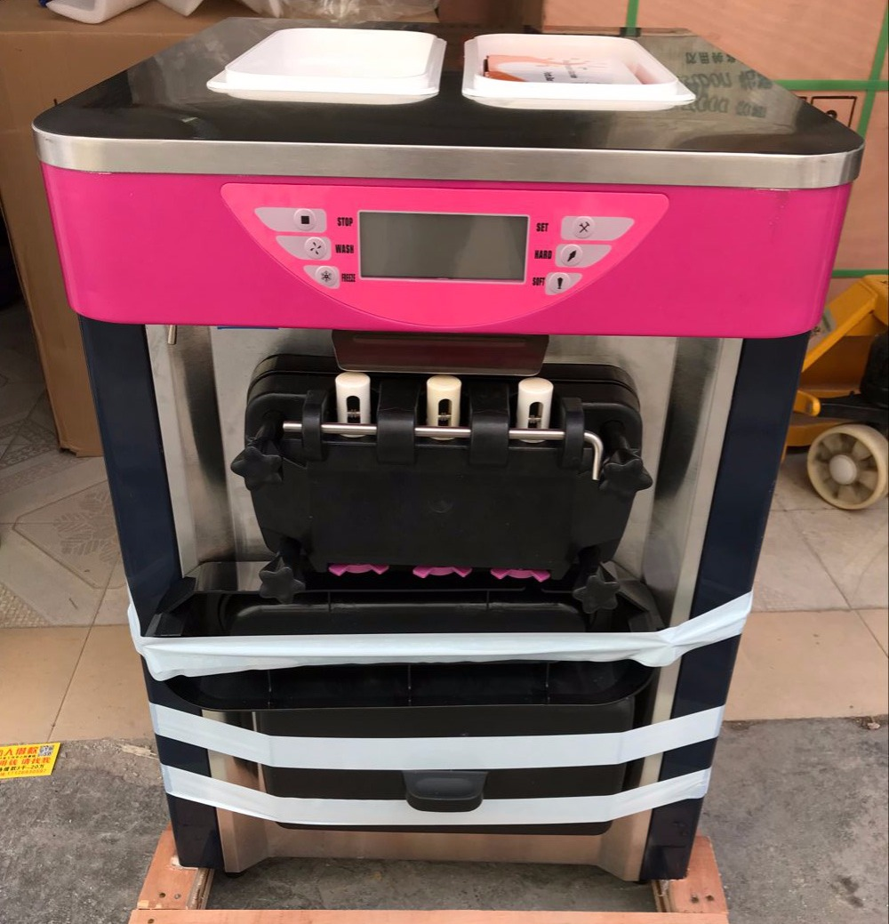 BJ218S 18-20L/H 110v 60hz  220v 50hz 3 Color Desktop Ice Cream Machine Electric Rainbow Soft Ice Cream Maker