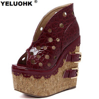 2017 New Fashion Hollow Open Toe Women Sandal Extremely High Heels Women Shoes Platform Sandal Summer