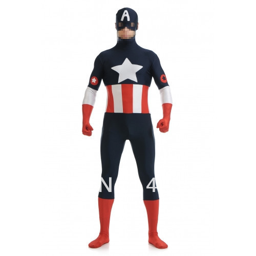 Dark blue & red & white spandex costume Captain America The Avengers Costumes Halloween Costumes