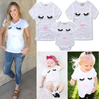 Matching Mother Daughter Clothes 2017 Summer Short Mama Eyes T Shirt Family Look Mommy And Me