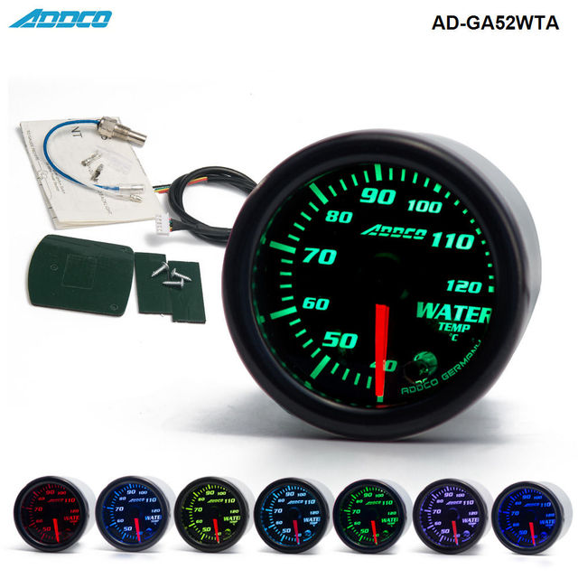 2 52mm 7 Color Led Smoke Face Water Temp Gauge Temperature Meter Car With