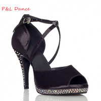 Customize Rhinestones Pinioning Black Professional Ruslana Korshunova Shoes Elevator Dance Shoes Wedding Shoes