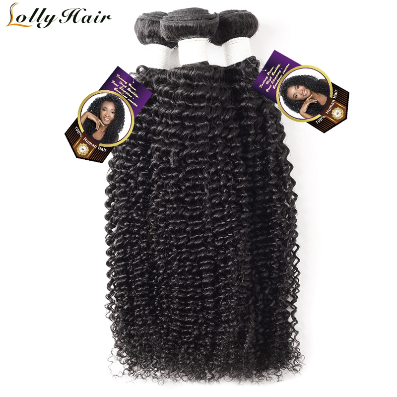 Lolly Hair Mongolian Kinky Curly Hair Bundles Natural Black Color Remy Hair Weave Curly Human Hair Extensions 3 Bundles Deal