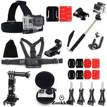 Zookkbb Accessories Head Chest strap surface J-Hooks camera case bag Monopod pole 3-way Adjustment Base for Gopro Hero 4 3+ 3 2