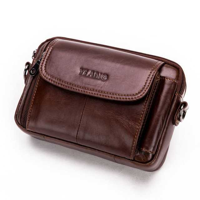 3523102826db US $19.38 30% OFF|Genuine Leather Cowhide Men Cell Mobile Phone Case Small  Messenger Shoulder Cross Body Fanny Pack Waist Pack Belt Pouch Bag-in Waist  ...