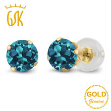 9b3cbf1f6 GemStoneKing Real 14K Yellow Gold Fine Jewelry 1.10 Ct 5mm Round Natural  London Blue Topaz 4-prong Stud Earrings For Women
