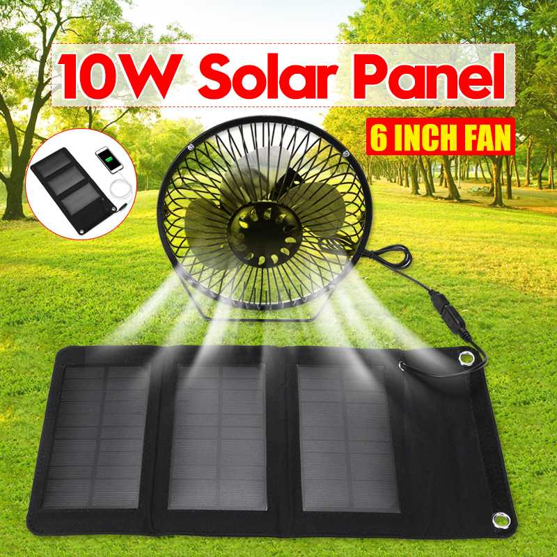 10W 5.5V Solar Powered Panel Iron Fan For Home Office Outdoor Traveling Fishing 6 Inch USB Cooling Ventilation Fan Power Bank