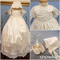 Beaded Pearls Christening Gown with Bonnet Infant Girls Toddlers Lace Appliques Baby Baptism Robe