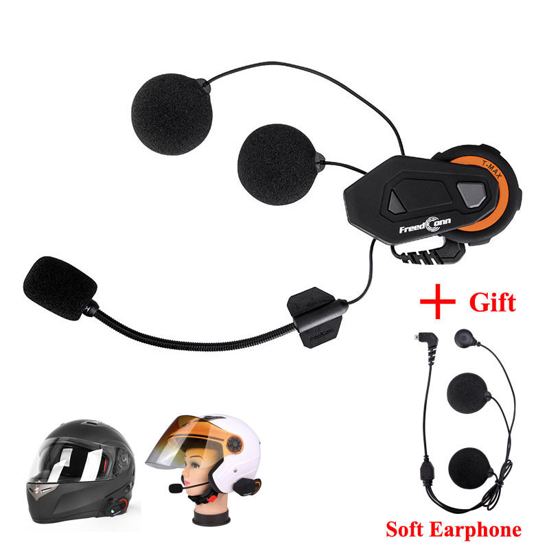 Freedconn T-MAX Motorcycle Helmet Intercom Bluetooth Citofono Moto Headset 6 Riders Group Talking FM Radio + Soft Earpiece