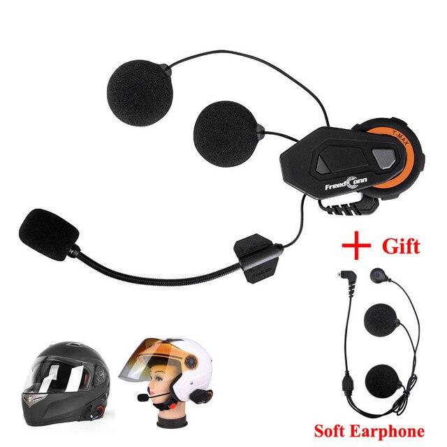 Freedconn T-MAX Motorcycle Helmet Intercom Bluetooth citofono Moto Headset 6 Riders Group Talking FM Radio + Soft Earpiece