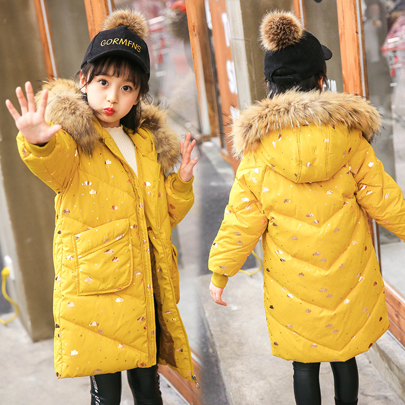 Winter Children Thickening Warm White Duck Down Jackets Girls Long Hooded Coats Teenage Raccoon Fur Collar Parkas Overcoats P289 winter brand 2017 new men down jacket coats long coats dress jackets western style overcoats thick warm duck down parkas