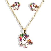 Мультяшная Милая Розовая лошадь, единорог, дизайн, эмаль, нержавеющая сталь, золотой цвет, ожерелья, серьги, набор, модное ювелирное изделие, детский подарок