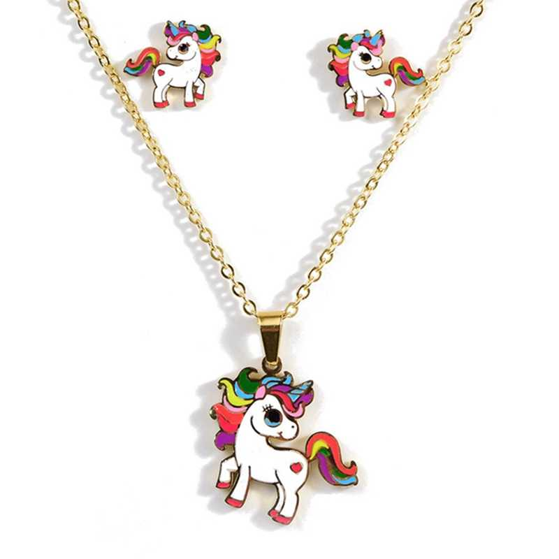 2019 Cartoon Cute Pink Horse Unicorn Design Enamel Stainless Steel Gold Color Necklaces earring Set Fashion Jewelry Kids Gift