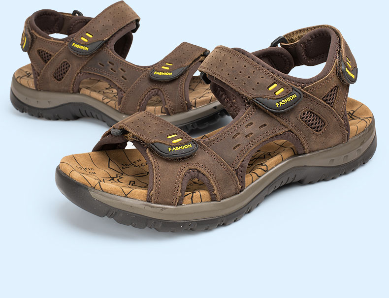 Hot Sale New Fashion Summer Leisure Beach Men Shoes High Quality Leather Sandals The Big Yards Men\`s Sandals Size 38-45 (13)