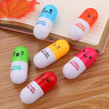 60 Pcs Cute Pill Ballpoint Pen Student Stationery Cartoon Expression Telescopic Capsule Pen Kawaii School Supplies expression matchstick style plastic ballpoint pen pink yellow